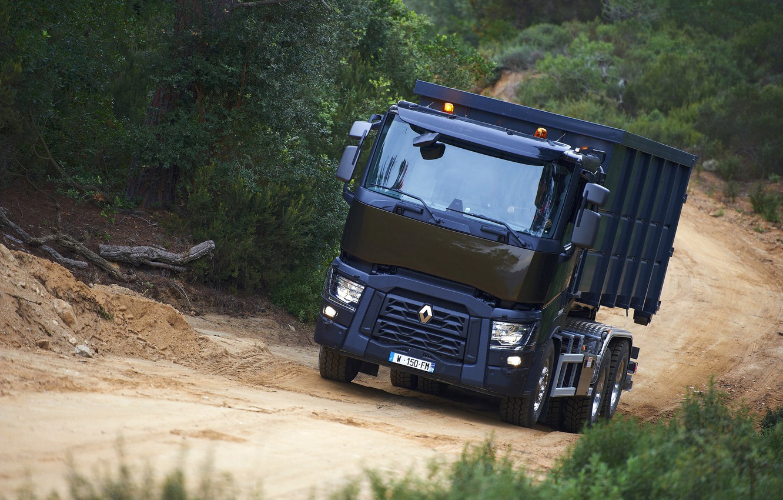 Photo wallpaper road, vegetation, truck, Renault, body, triaxial, Renault Trucks, C-series