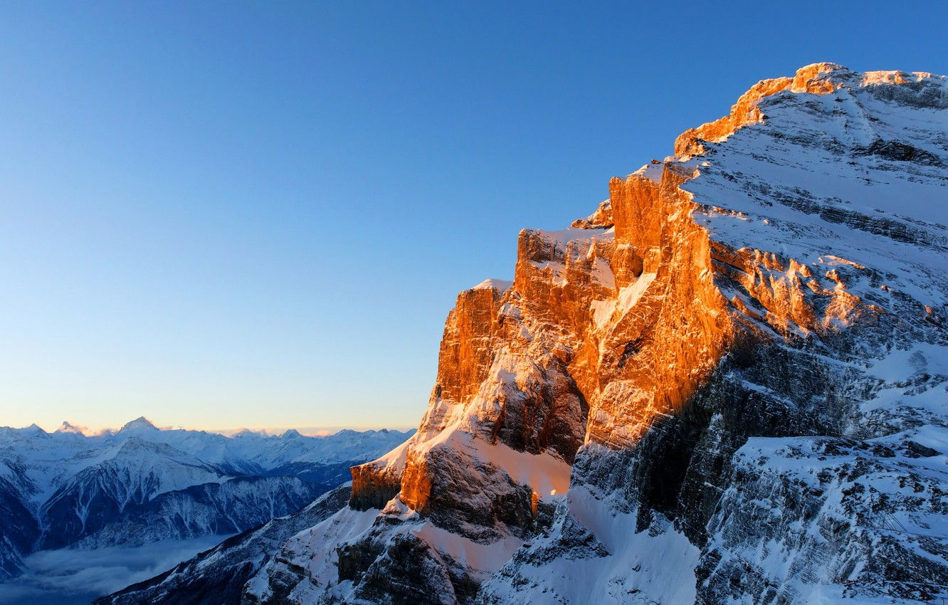 Photo wallpaper the sky, the sun, snow, mountains, height