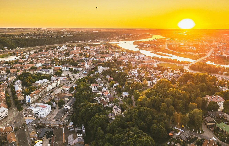 Photo wallpaper Lithuania, Kaunas, sunset