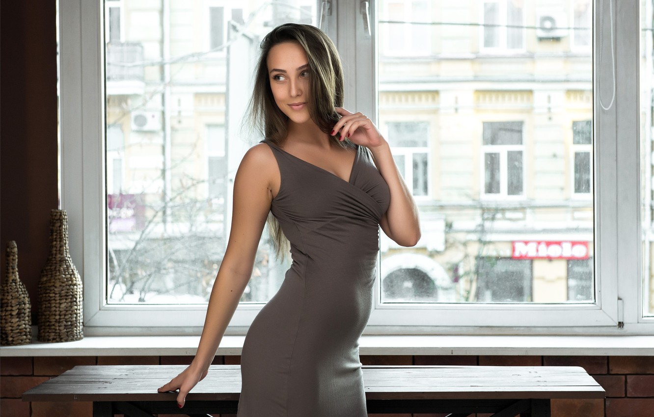 Photo wallpaper long hair, window, pretty face, beautiful woman, looking away, great figure, standing alone, lovely woman, …