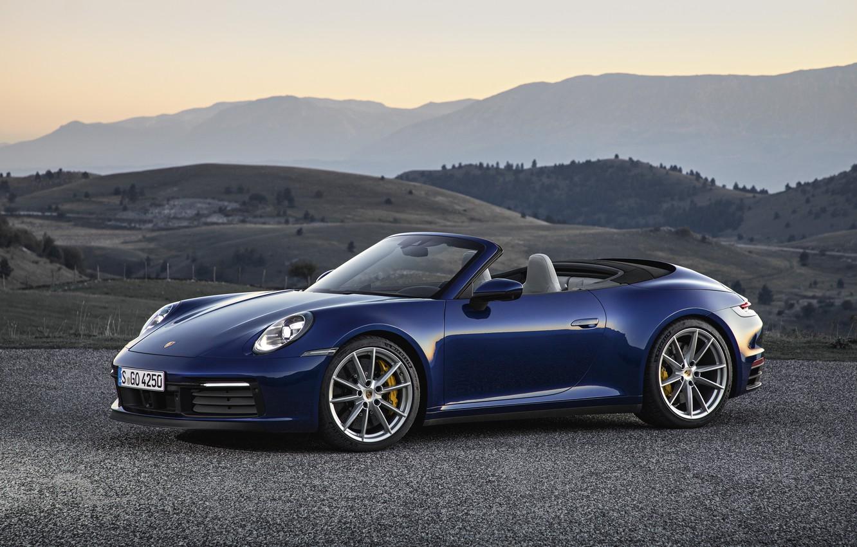 Photo wallpaper mountains, blue, 911, Porsche, convertible, Cabriolet, Carrera 4S, 992, 2019