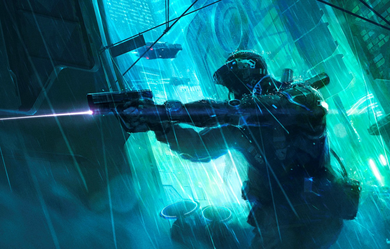 Photo wallpaper the city, future, gun, weapons, rain, the game, laser, fighter, the exoskeleton, rpg, cyberpunk, game …