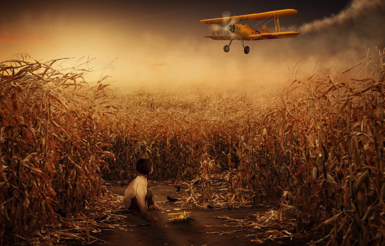 Photo wallpaper fantasy, composite, toy plane