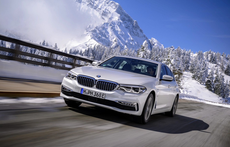Photo wallpaper white, mountains, BMW, the fence, sedan, hybrid, 5, four-door, 2017, 5-series, G30, 530e iPerformance