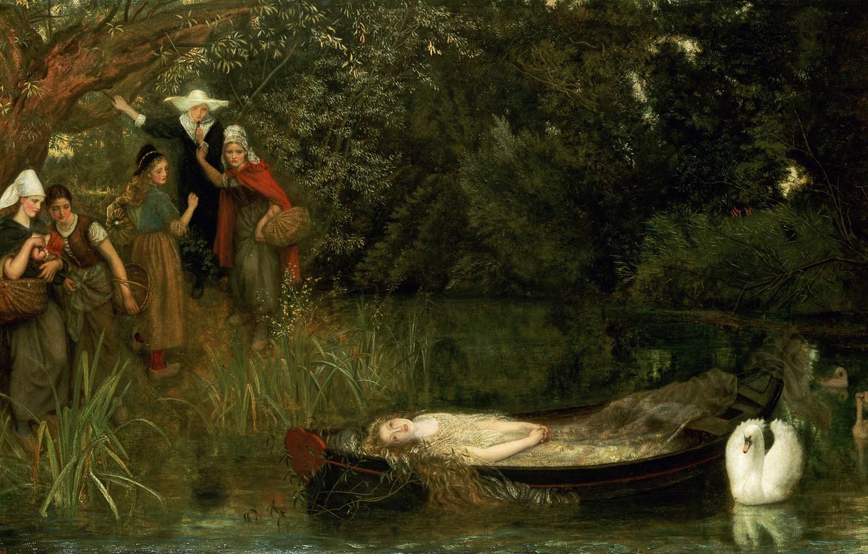 Photo wallpaper Swan, Arthur Hughes, Lady Shallot, 1872-1873