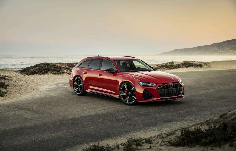 Photo wallpaper red, Audi, coast, universal, RS 6, 2020, 2019, V8 Twin-Turbo, RS6 Avant
