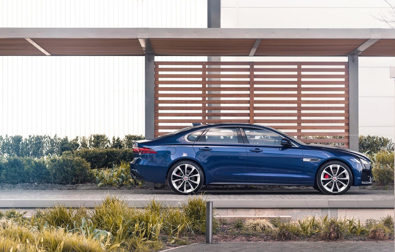 Photo wallpaper Jaguar, Parking, sedan, in profile, Jaguar XF, 2020, XF