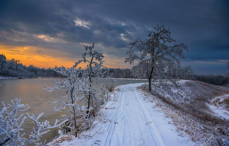 Photo wallpaper winter, road, sunset, river