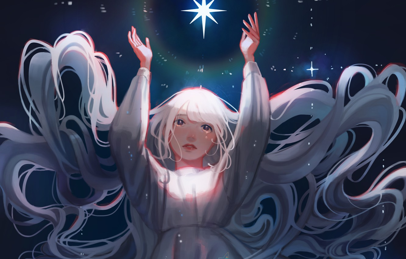 Photo wallpaper the sky, night, figure, star, long hair