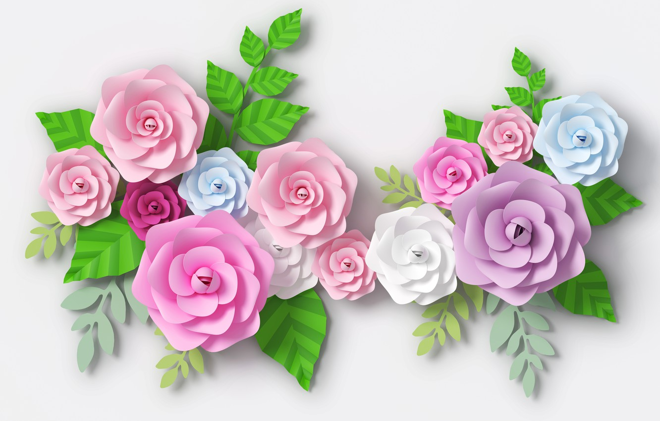 Photo wallpaper flowers, paper, background