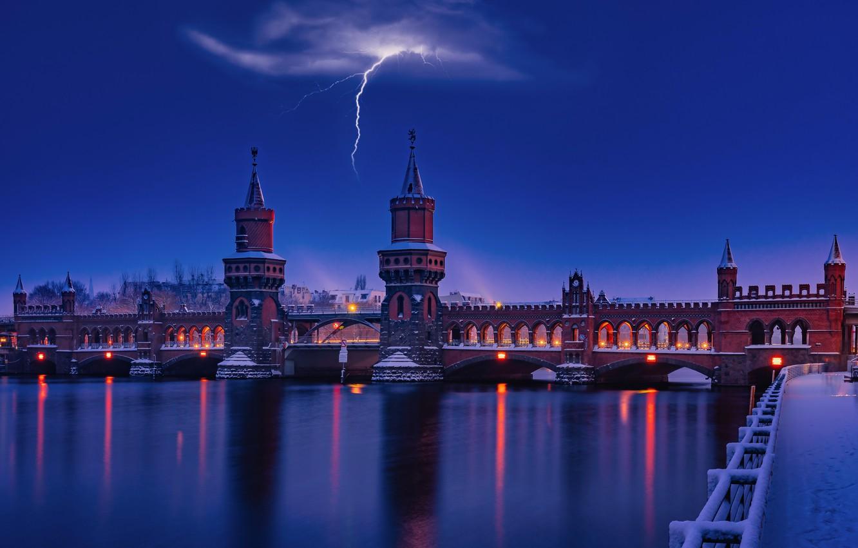 Photo wallpaper the storm, night, bridge, river, lightning, promenade, Germany, Berlin, Berlin, Oberbaum, River Spree, The Upper …