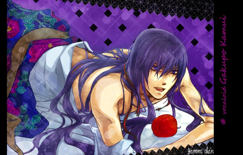Photo wallpaper vocaloid, Vocaloid, flirting, purple hair, red Apple, lying on the bed, Kamui Gakupo, Gakupo Kamui