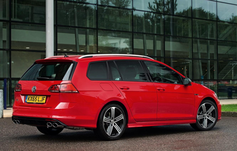 Photo wallpaper red, Volkswagen, side view, universal, 2015, Golf R Estate