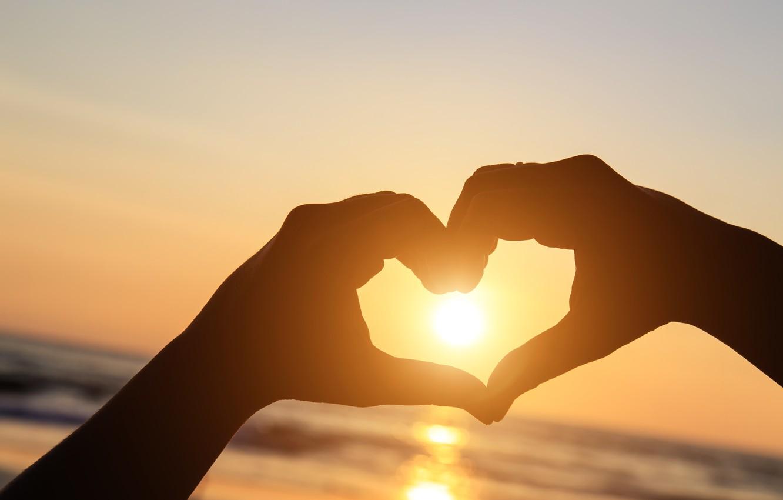 Photo wallpaper love, sunset, heart, hands, love, beach, heart, sunset, romantic, hands