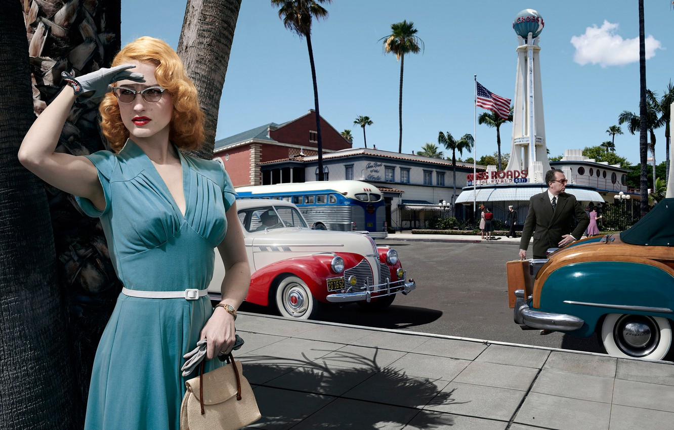 Photo wallpaper road, auto, girl, machine, the city, dress, glasses, Los Angeles, Joyce Harwood