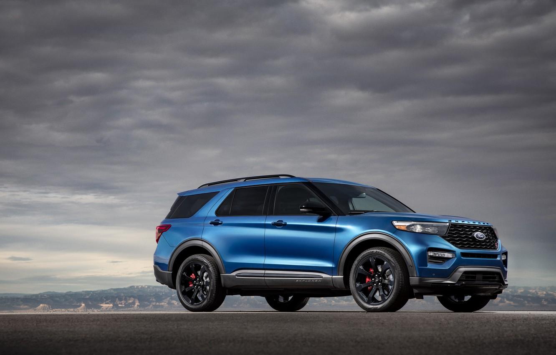 Photo wallpaper clouds, blue, Machine, drives, Ford Explorer ST