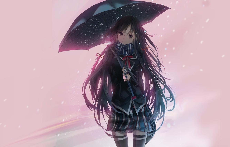 Photo wallpaper girl, umbrella, Shipping Was Yukinoshita, Oregairu, Pink Time Of My School Life A Fraud