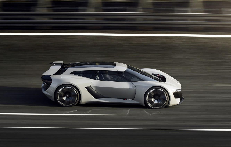 Photo wallpaper grey, Audi, speed, track, 2018, PB18 e-tron Concept