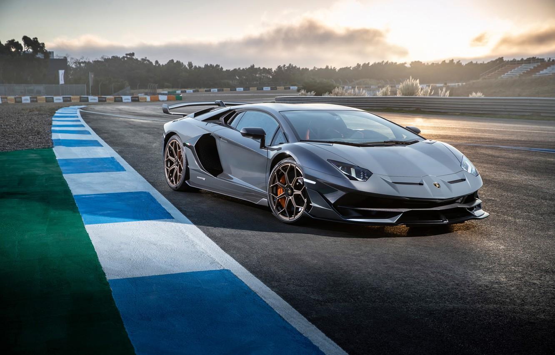 Photo wallpaper sunset, Lamborghini, supercar, 2018, Aventador, SVJ, Aventador SVJ