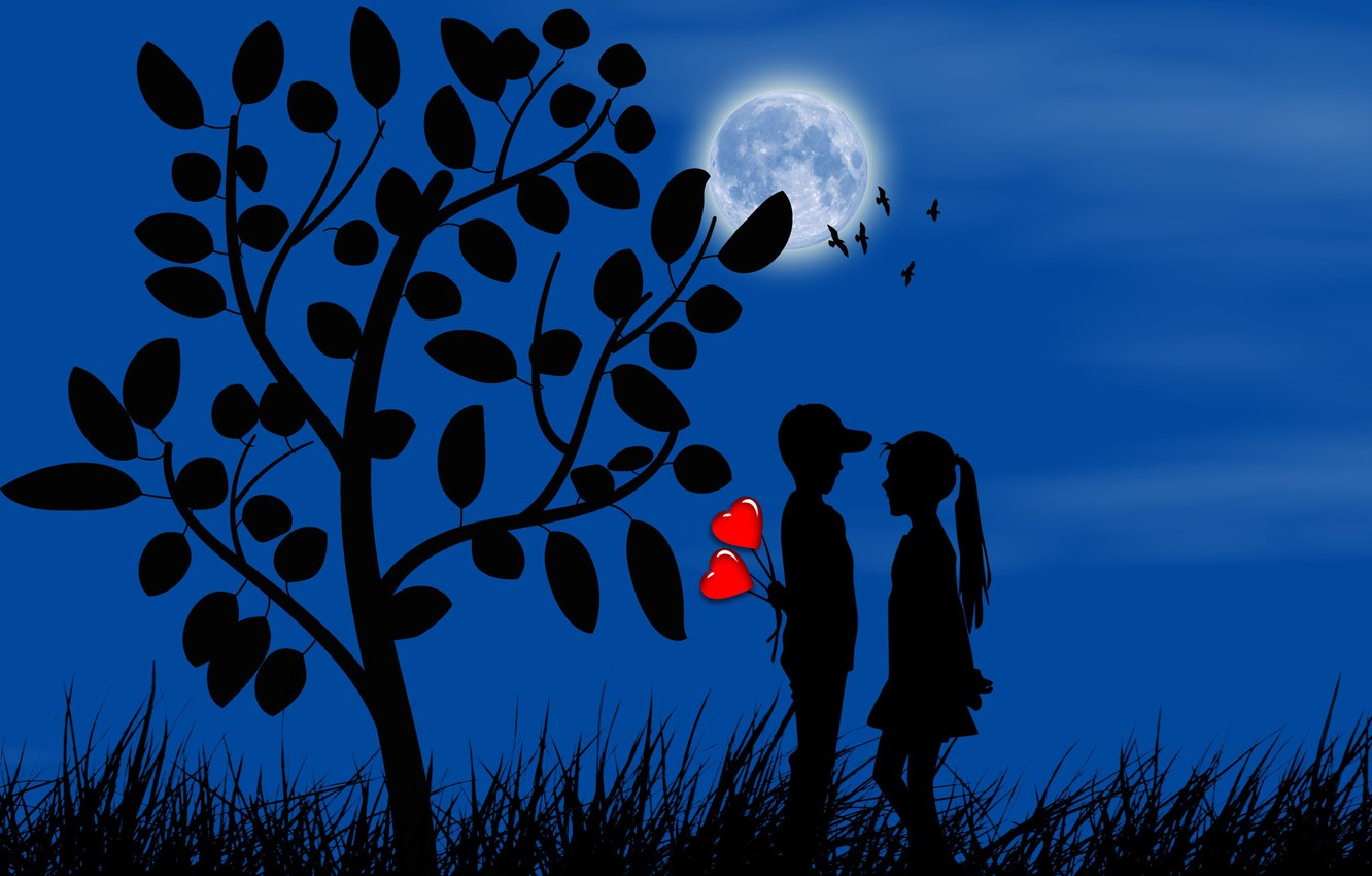 Photo wallpaper the moon, romance, boy, girl, hearts, silhouettes, date, first love