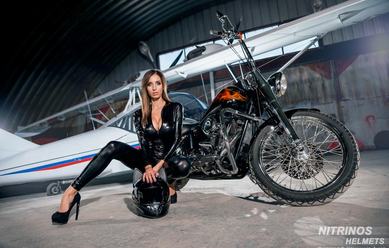 Photo wallpaper chest, girl, face, pose, hangar, photographer, motorcycle, helmet, girl, bike, sexy, the plane, jumpsuit, bike, …