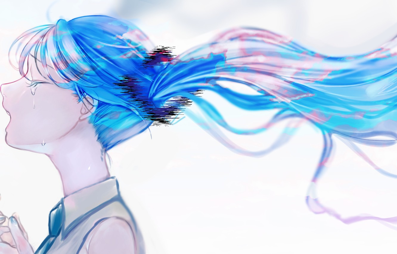 Photo wallpaper girl, Hatsune Miku, Vocaloid, crying