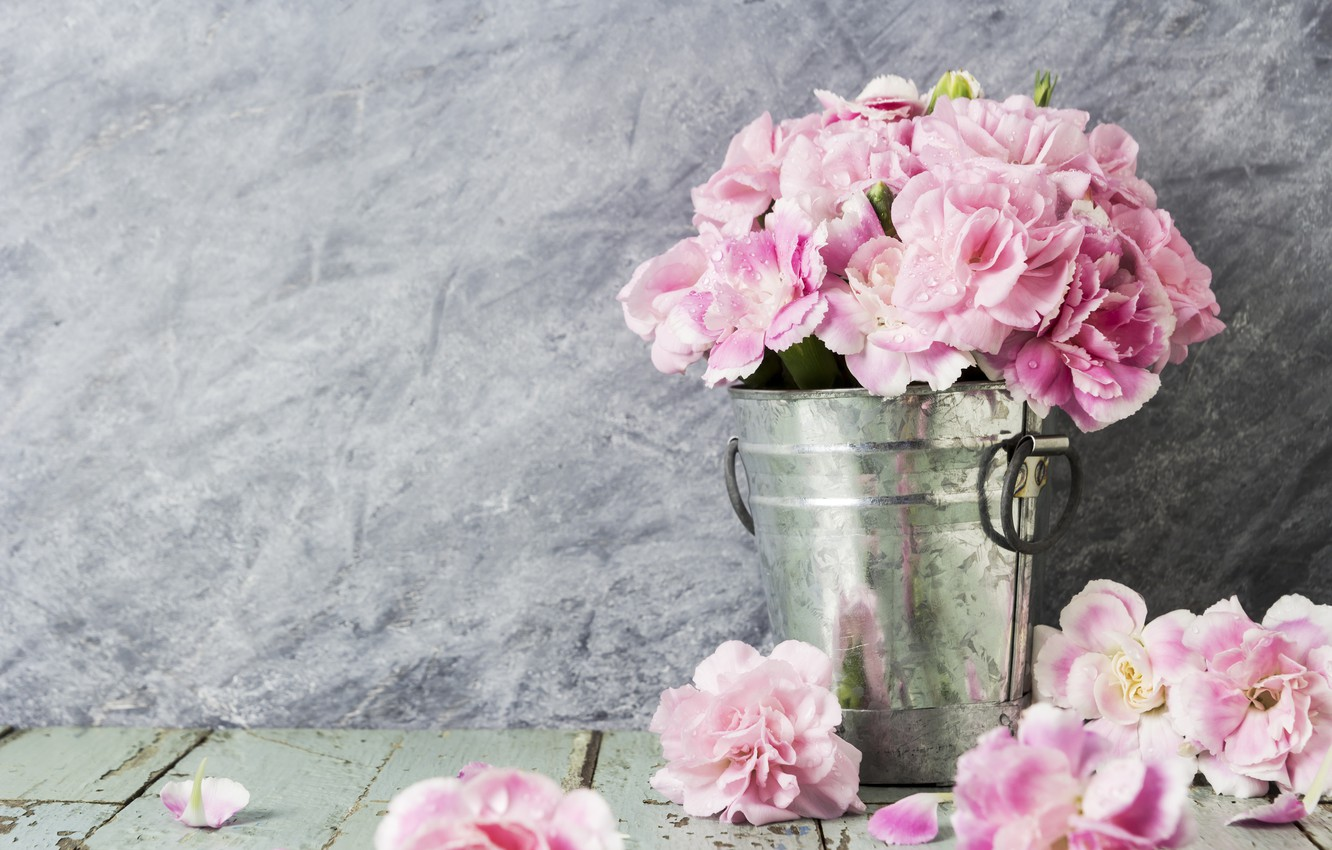 Wallpaper Flowers Petals Bucket Pink Vintage Wood Pink Flowers Beautiful Romantic Images For Desktop Section Cvety Download