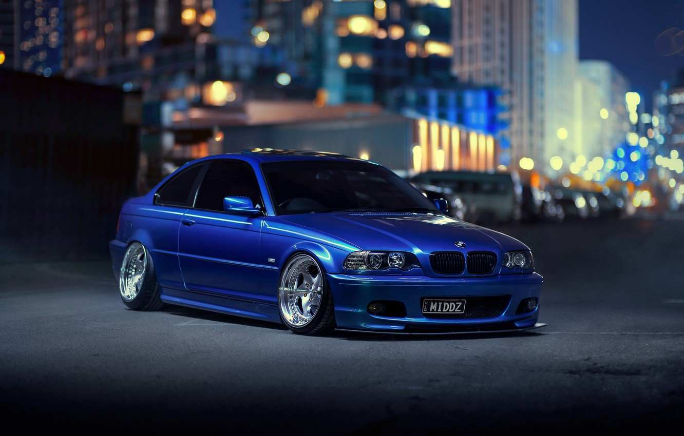 Photo wallpaper night, the city, lights, BMW, blue, bokeh, E46, 3-Series