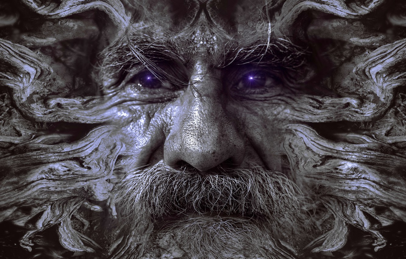 Photo wallpaper face, fantasy, people, portrait, the old root