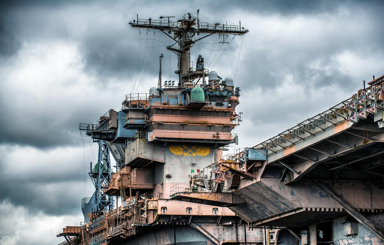 Photo wallpaper legend, aircraft carrier, Tower, CV-67, USS John F.Kennedy