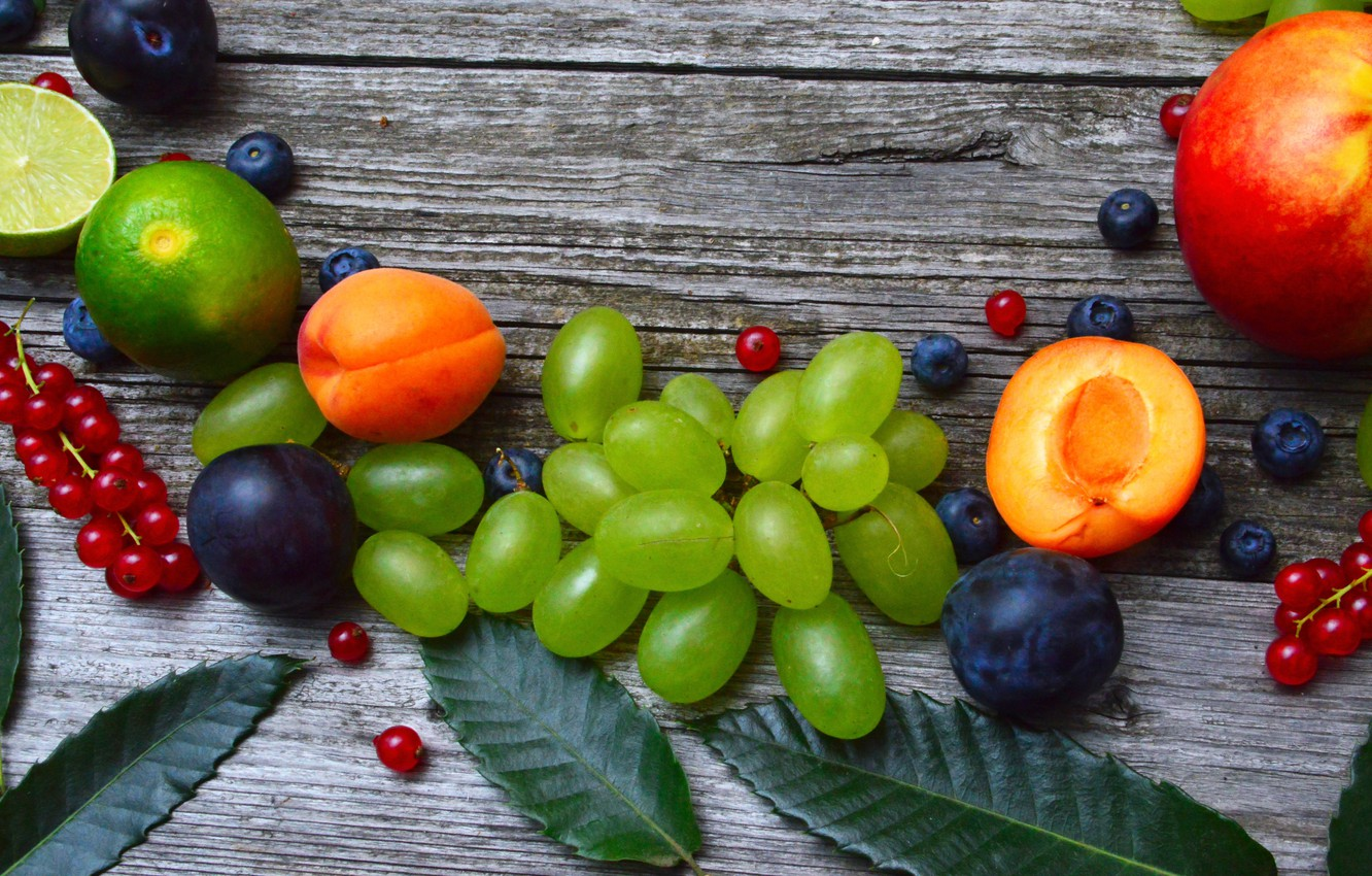 Photo wallpaper berries, Fruit, Grapes, peach, currants