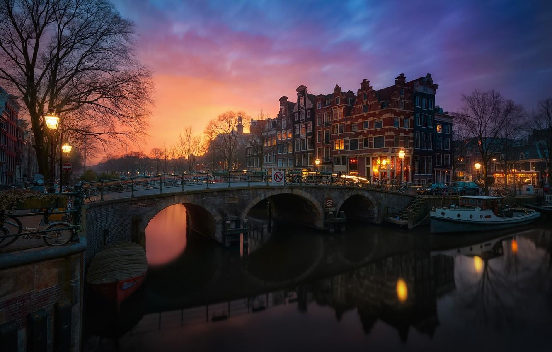Photo wallpaper the city, morning, Amsterdam, Netherlands, Holland