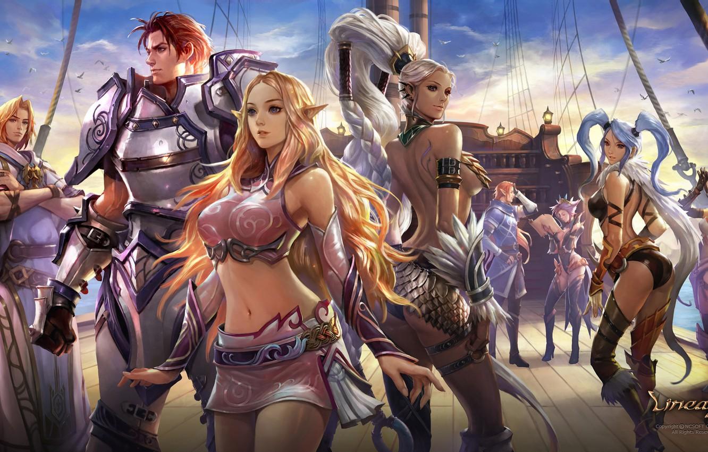 Photo wallpaper girl, fantasy, game, armor, Lineage, ponytail, man, braid, artist, elf, ship, digital art, artwork, warrior, …