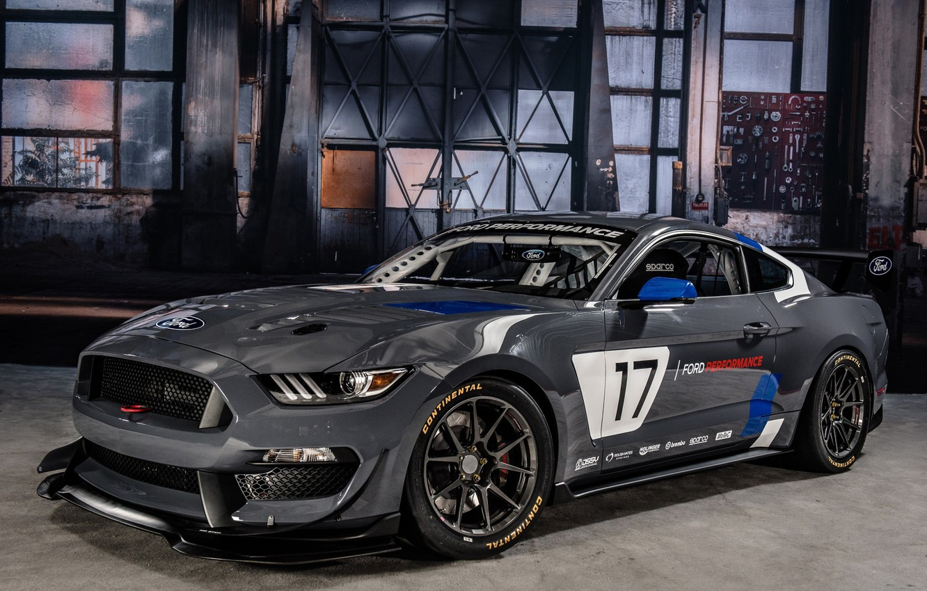Photo wallpaper Muscle, Race, Ford Mustang, Gray, GT4, Vehicle