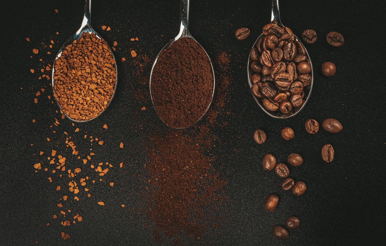 Photo wallpaper coffee, grain, black background, coffee, grains, black background, spoon, ground, ground, spoons, granulated, гранулированный