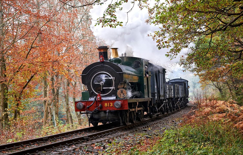 Photo wallpaper retro, smoke, England, rails, the engine, Trimpley Reservoir