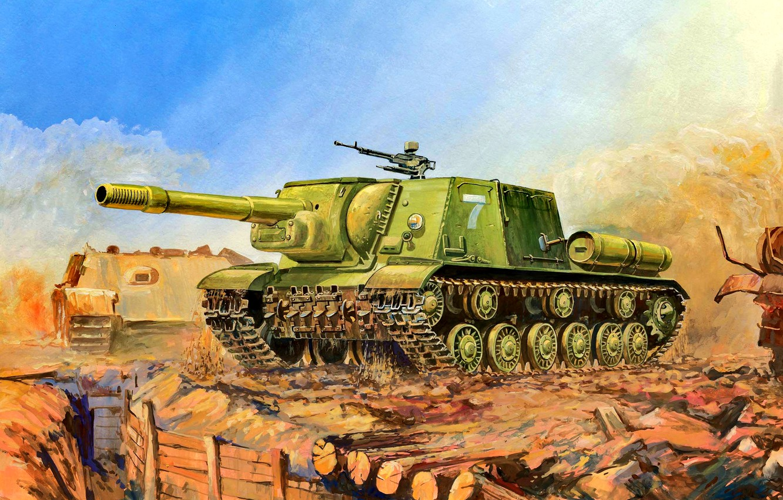 Photo wallpaper SAU, The red army, ISU-152, Soviet, Heavy, The trench, 152 mm howitzer-gun ML-20