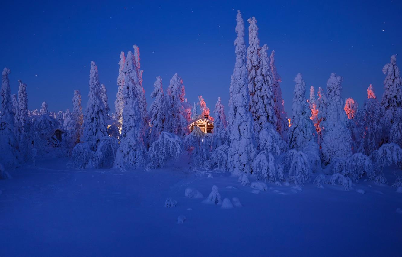 Photo wallpaper winter, the sky, stars, snow, house, winter, snow, stars, the sky, the house, Andrey Bazanov, …
