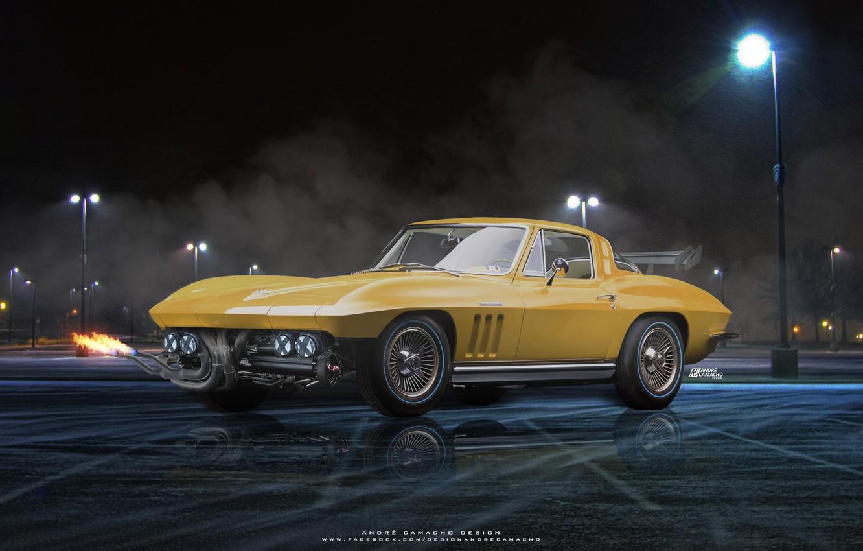 Photo wallpaper night, reflection, lights, car, 1965 Chevrolet Corvette