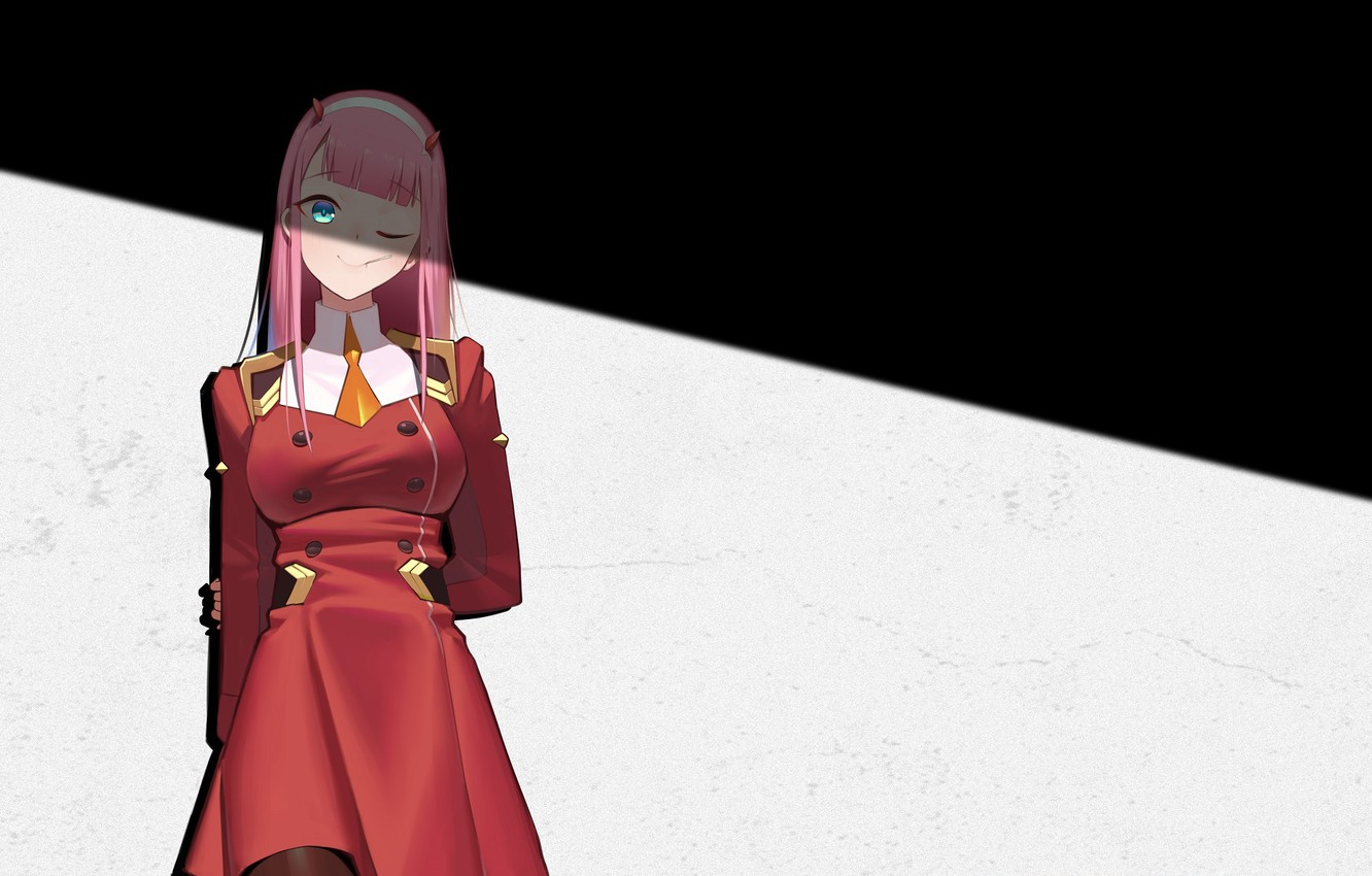 Photo wallpaper girl, shadow, 002, Darling In The Frankxx, Cute in France, Zero Two