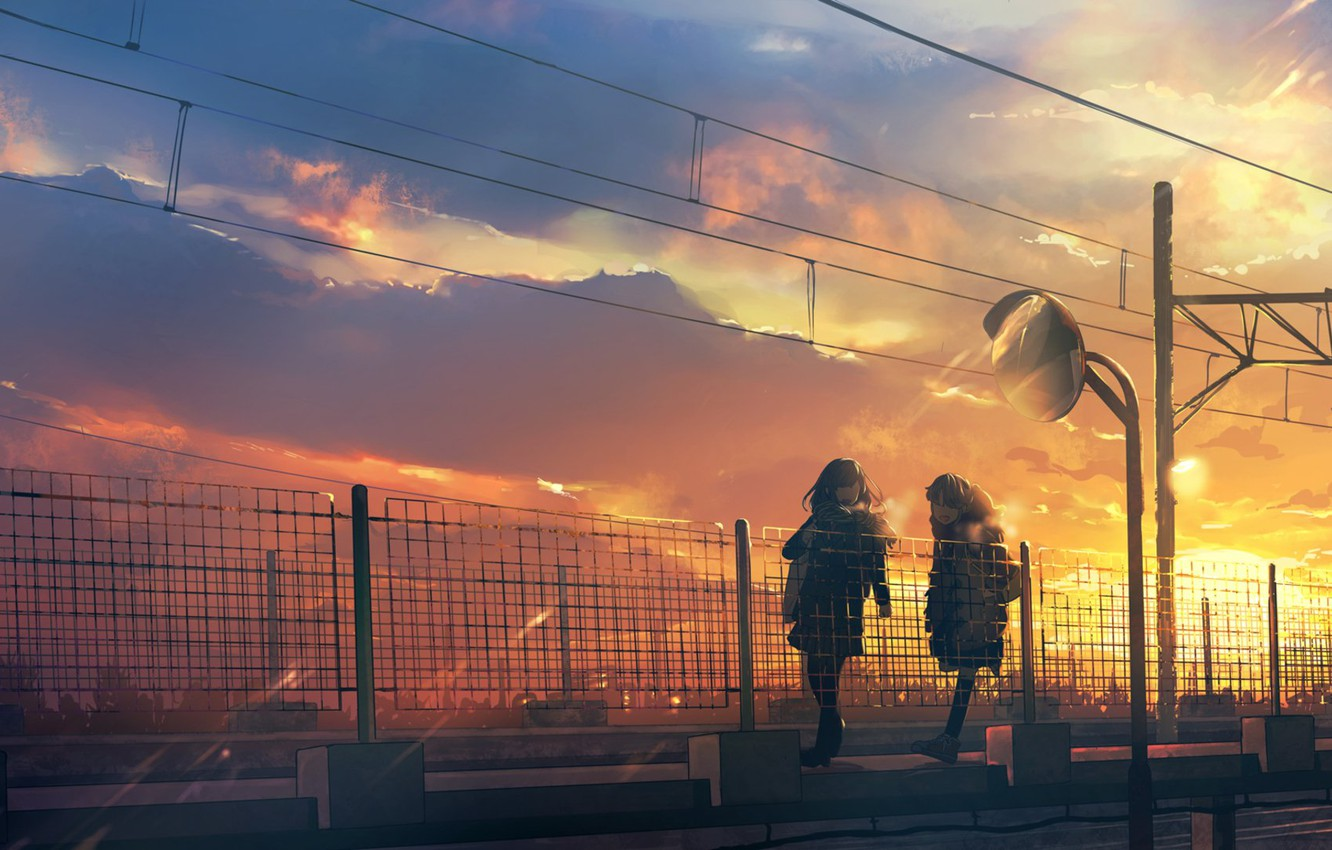 Photo wallpaper sunset, posts, wire, fence, Japan, Schoolgirls, on the bridge, two girls, the evening sky, a …