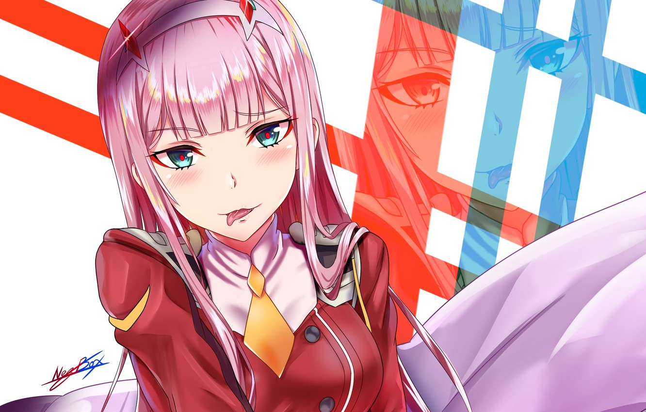 Wallpaper Girl Tongue Pillow 002 Darling In The Frankxx Cute In France Zero Two Images For Desktop Section Syonen Download