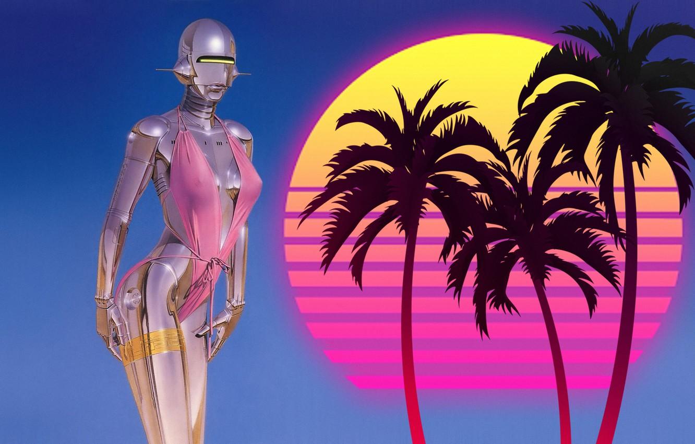 Photo wallpaper Music, Girl, 80s, Robot, 80's, Synth, Retrowave, Synthwave, New Retro Wave, madeinkipish, Futuresynth, Sintav, Retrouve, ...