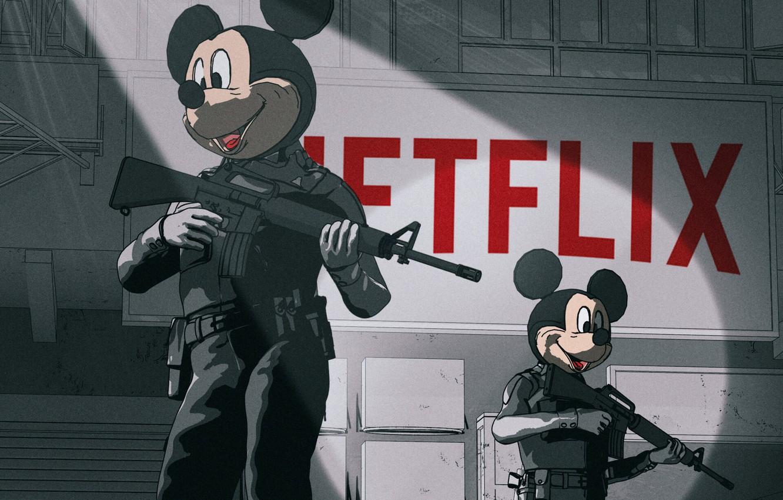 Photo wallpaper Figure, Weapons, Wars, Disney, Gun, Art, Art, Mickey Mouse, Mickey Mouse, Netflix, by Beeple, Beeple, …