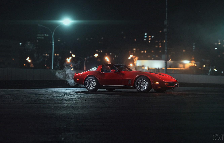 Photo wallpaper Red, Auto, Corvette, Chevrolet, Machine, Chevrolet Corvette, 1980, Chevrolet Corvette C3, Mikhail Sharov, Transport & …