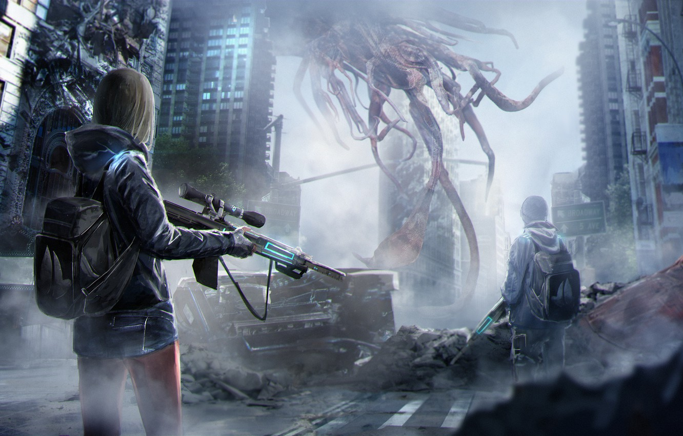 Photo wallpaper girl, weapons, fiction, home, being, art, guy, backpack, art, skyscrapers, sci-fi, aliens