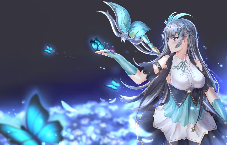 Photo wallpaper girl, butterfly, anime