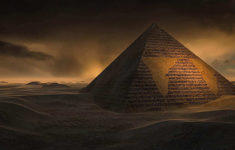 Photo wallpaper sand, desert, pyramid, characters