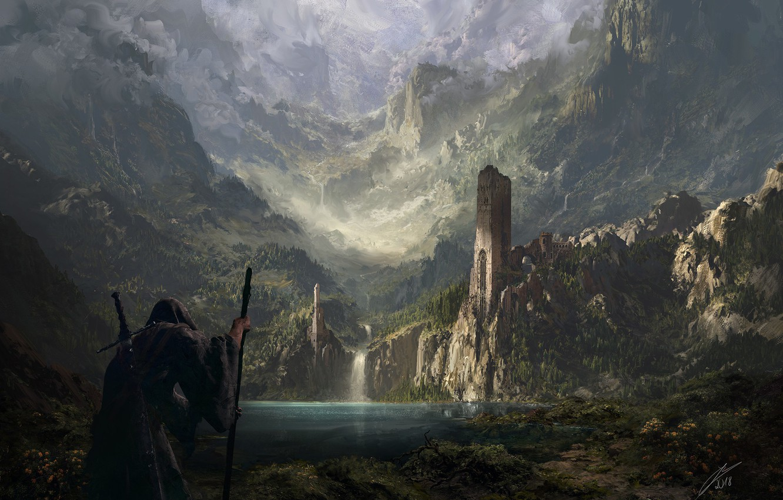 Photo wallpaper castle, fortress, pond, the wanderer, Lands of Old