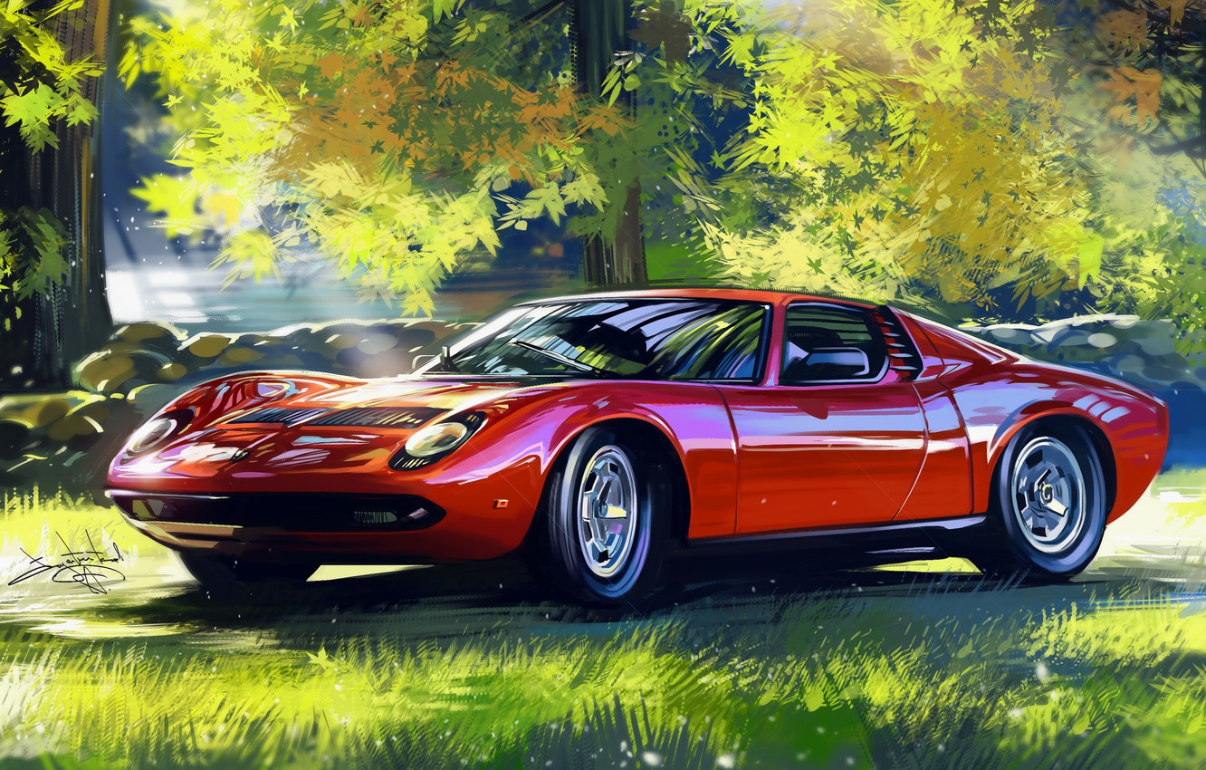Photo wallpaper Red, Car, Retro, Supercar, Lamborghini Miura, Sketch, Alexander Sidelnikov